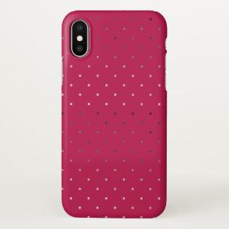 falso modelo de lunares color de rosa minúsculo funda para iPhone x
