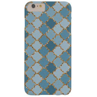 Falso modelo de mosaico brillante azul elegante funda barely there iPhone 6 plus
