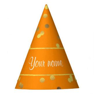 Falso naranja del confeti de la hoja de oro gorro de fiesta