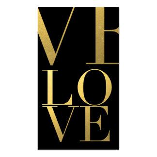 Falso negro del amor de la hoja de oro tarjetas de visita