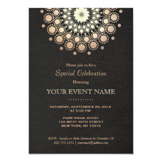 Falso negro elegante del adorno del círculo del invitación 12,7 x 17,8 cm