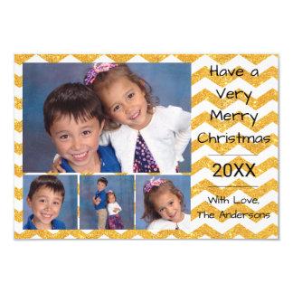 Falso oro Chevron 4 fotos - tarjeta de Navidad 3x5 Invitación 8,9 X 12,7 Cm