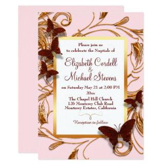 Falso oro del boda del rosa adaptable de la invitación 12,7 x 17,8 cm