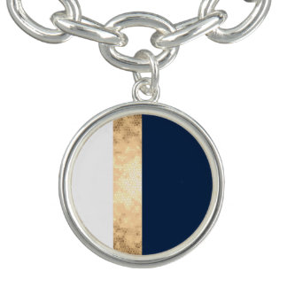 falso oro elegante, azul marino, rayas blancas pulsera