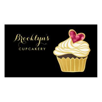 FALSO oro elegante Cupcakery y corazón rosado de Tarjetas De Visita