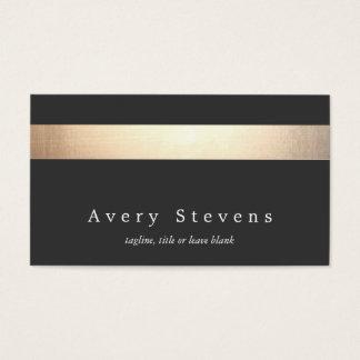 Falso oro moderno elegante y negro rayados tarjeta de visita