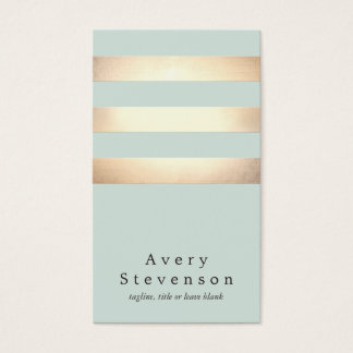 Falso oro moderno fresco y rayas azules tarjeta de negocios