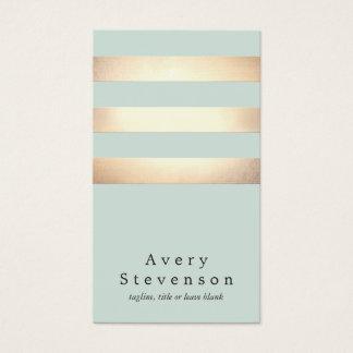 Falso oro moderno fresco y rayas azules tarjeta de visita