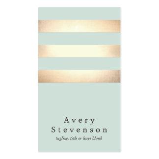 Falso oro moderno fresco y rayas azules tarjetas de visita