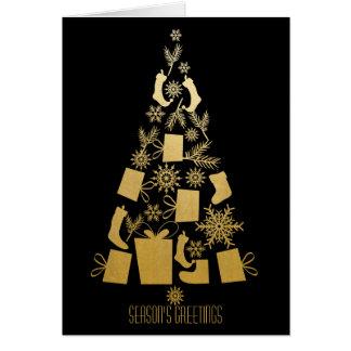 Falso oro y árbol de navidad moderno negro tarjeta de felicitación
