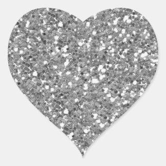 Falso) pegatina de plata del corazón del brillo (