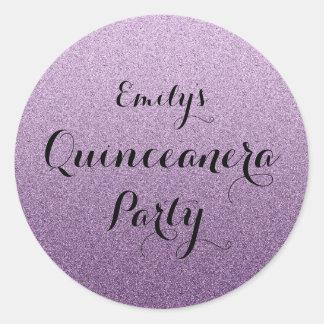 Falso pegatina púrpura de Ombre Quinceanera del