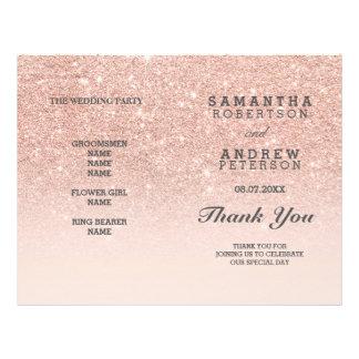 Falso programa del boda del ombre del rosa del folleto 21,6 x 28 cm