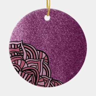 Falso purpurina púrpura con diseño del medallón adorno de cerámica