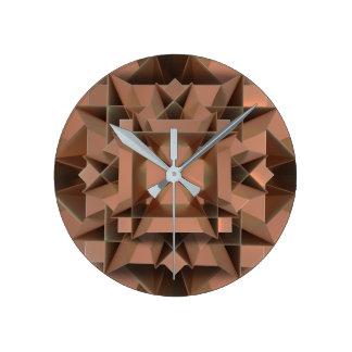 Falso reloj de pared redondo de cobre moderno