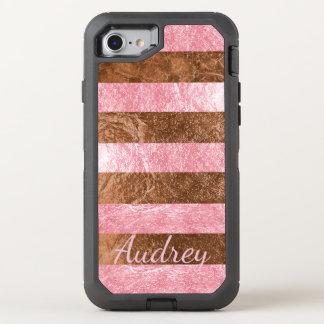 Falso rosa de la frambuesa de PixDezines+Hoja de Funda OtterBox Defender Para iPhone 8/7