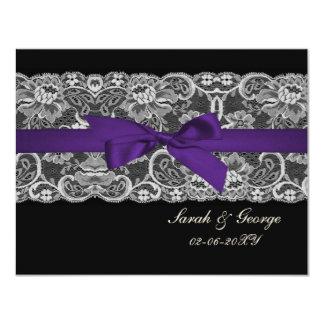 Falso rsvp negro púrpura del boda del cordón y de invitación 10,8 x 13,9 cm