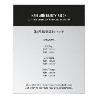 Falso salón de belleza negro de plata oscuro flyer