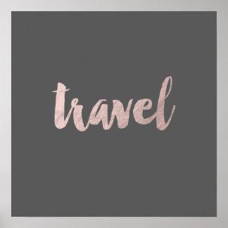 "falso texto color de rosa elegante ""viaje "" de la póster"