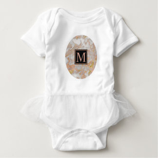 Falso tutú color de rosa moderno del monograma del body para bebé
