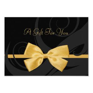 Falso vale del arco del oro de los rizos negros invitación 8,9 x 12,7 cm