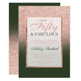 Falso verde caqui color de rosa 50 del purpurina invitación 12,7 x 17,8 cm