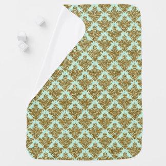 Falso verde del bebé y damasco del brillo del oro mantita para bebé