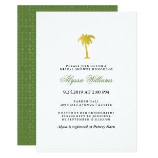 Falso verde nupcial elegante de la ducha el | del invitación 12,7 x 17,8 cm
