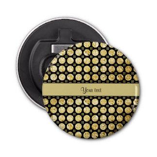 Falsos botones del oro elegante abrebotellas