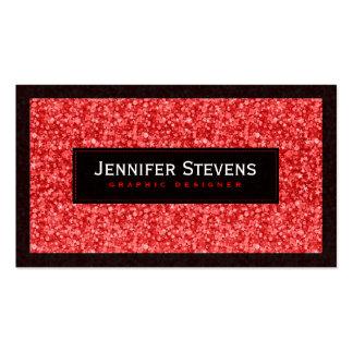 Falsos brillo y chispas rojos tarjetas de visita