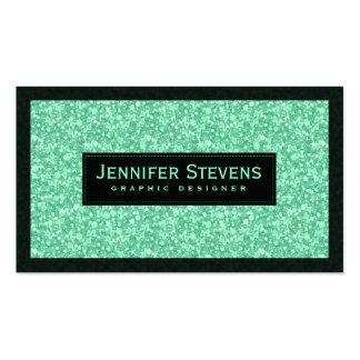 Falsos brillo y chispas verdes claros tarjetas de visita