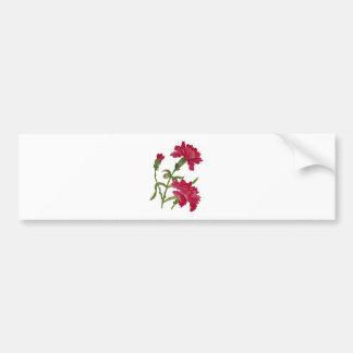 Falsos claveles rojos bordados pegatina de parachoque