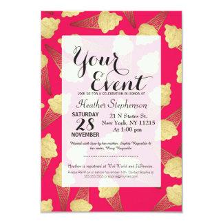 Falsos conos de helado de la hoja de oro en rosa invitación 8,9 x 12,7 cm