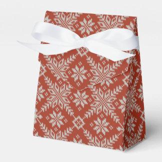 Falsos copos de nieve rojos y blancos del suéter caja para regalos