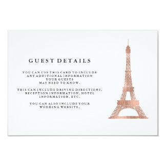 Falsos detalles color de rosa de la huésped del invitación 8,9 x 12,7 cm