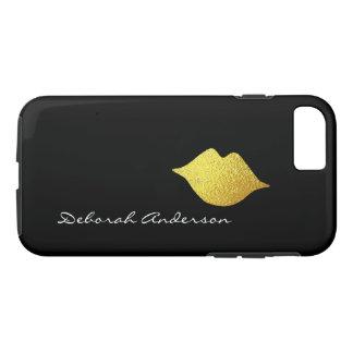 falsos labios del oro + negro del nombre funda para iPhone 8/7