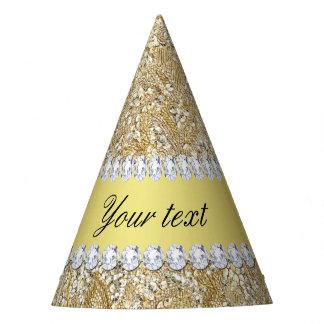 Falsos lentejuelas y diamantes atractivos del oro gorro de fiesta