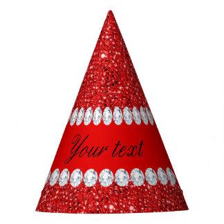 Falsos lentejuelas y diamantes rojos atractivos gorro de fiesta