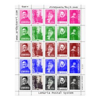 Falsos sellos de Artistamps Tesla Blavatsky etc Folleto 21,6 X 28 Cm