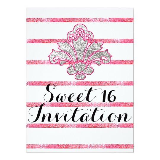 Falsos tarjeta rosada de la invitación del dulce