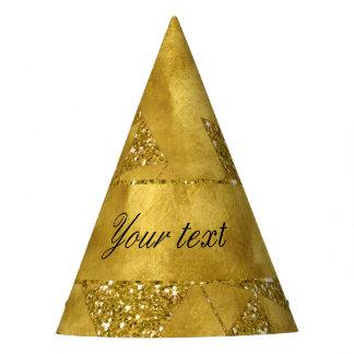Falsos triángulos de moda del brillo del oro gorro de fiesta