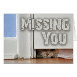 Falta de usted que mira a escondidas el gatito tarjeta de felicitación