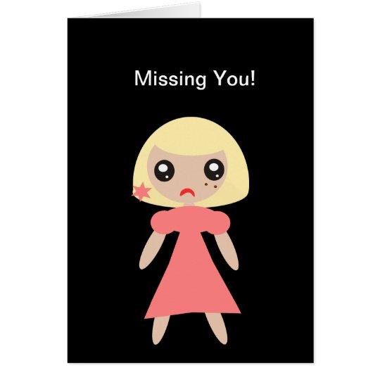 Faltándole chica triste tarjeta pequeña