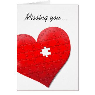 Faltándole tarjeta del rompecabezas del corazón
