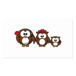 Familia adorable del búho tarjetas de negocios