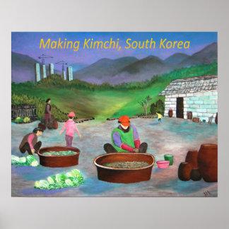 Familia coreana que hace el 김치 de Kimchi Póster