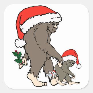 Familia de Bigfoot del navidad Pegatina Cuadrada