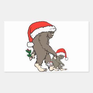 Familia de Bigfoot del navidad Pegatina Rectangular