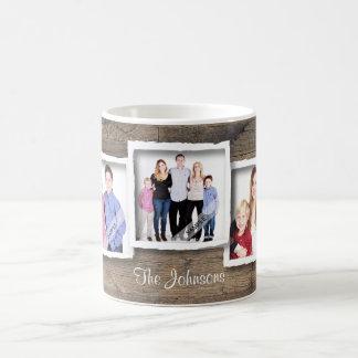Familia de encargo del collage de la foto, fotos taza de café