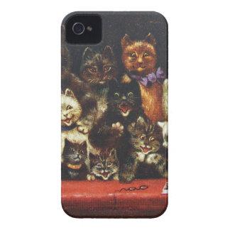 Familia de gato del navidad del vintage - en el funda para iPhone 4